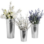 Set Of Three Galvinized Flower Buckets