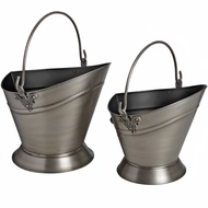 Set Of Two Waterloo Coal Buckets In Antique Pewter