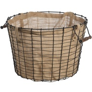 Circular Wire Basket With Linen Lining