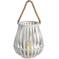 Large Washed Lantern With Natural Rope