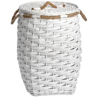 White Woven Storage Basket With Rope Detail