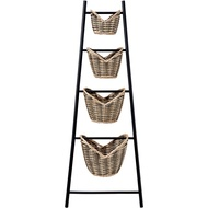 Novelty Ladder Wicker Basket Storage Unit