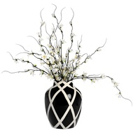 Black And White Contemporary Lattice Urn Style Vase
