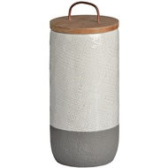 White And Grey Cylinder Storage Jar With Copper Lid