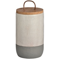 White And Grey Storage Jar With Copper Handle