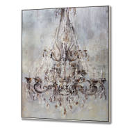 Framed Metalic Chandelier Wall Art With Diamantes