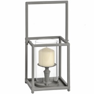 Washed Grey Single Candle Lantern