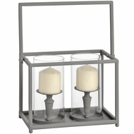 Washed Grey Double Candle Lantern