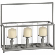 Washed Grey Triple Candle Lantern