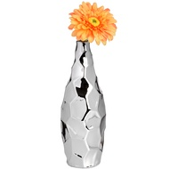 Textured Silver Ceramic Short Vase