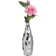 Textured Silver Ceramic Tall Vase