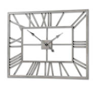 Silver Metal Frame Rectangular Clock