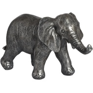 Silver Elephant Statue With Lowered Trunk
