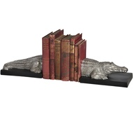 Silver Crocodile Bookends