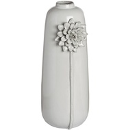 Tall Porcelain Grey Vase with Floral Detailing