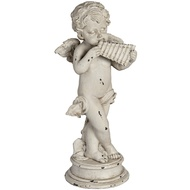 Cream Angel Statue with Panpipe