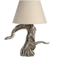 Rustic Driftwood Table Lamp in Cream