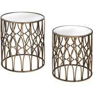 Set Of Two Gold Detail Mirrored Side Tables