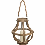Wooden Cage Lantern With Glass Hurricane