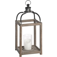 Large Reclaimed Wooden Lantern with Distressed Metal Top