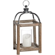 Small Reclaimed Wooden Lantern with Distressed Metal Top