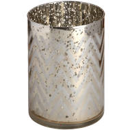 Silver Glass Chevron Tealight Holder in Speckle Effect