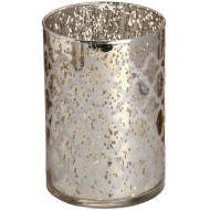 Silver Glass Arabesque Tealight Holder in Speckle Effect
