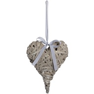 Small Washed Grey Woven Hanging Heart
