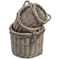 Set of Three Washed Grey Willow Baskets