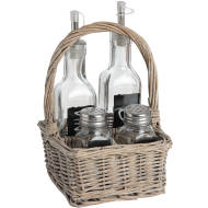 Washed Grey Square Condiment Basket in Willow