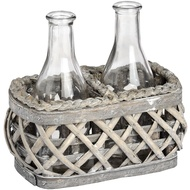 Washed Grey Rectangle Willow with Two Display Bottles