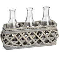Washed Grey Rectangle Willow with Three Display Bottles