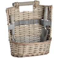 Washed Grey Oval Willow Garden Basket with Fork and Trowel