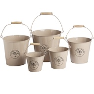 The Vintage Garden Set of Five Tin Buckets