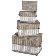 Set of Three Washed Grey Willow Treasure Chests