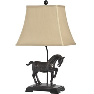 Black Horse Table Lamp With Gold Detailing