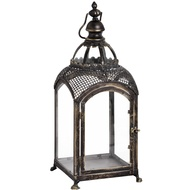 Square Lantern In Bronze With Domed Glass Roof 48Cm