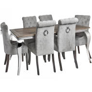 Silver Roll Top Dining Chair With Ring Pull - Thumb 6