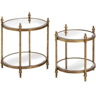 Set Of Two Antique Gold Round Tables