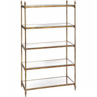 Antique Gold Tall Display Bookshelf