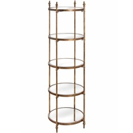 Antique Gold Tall Round Display Shelf