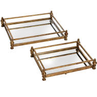 Antique Gold Set Of Two Cocktail Trays