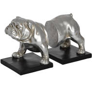 Antique Silver Bull Dog Bookends