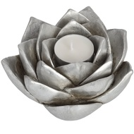 Antique Silver Lotus Flower Candle Holder