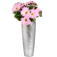 Large Silver Ceramic Shaped Vase