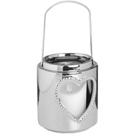 Large Silver Ceramic Heart Candle Lantern