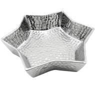 Small Silver Ceramic Star Display Dish With Dimple Effect