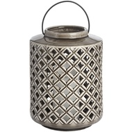 Large Grey Ceramic Diamond Cut Lantern