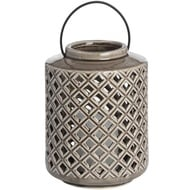 Grey Ceramic Diamond Cut Lantern
