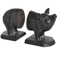 Antique Black Pig Bookends